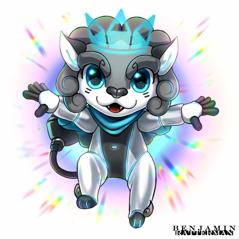 Leon Leaps Towards The Future! Illust of Bandit HuionDesign digital CLIPSTUDIOPAINT Leon mascot character huion rainbow