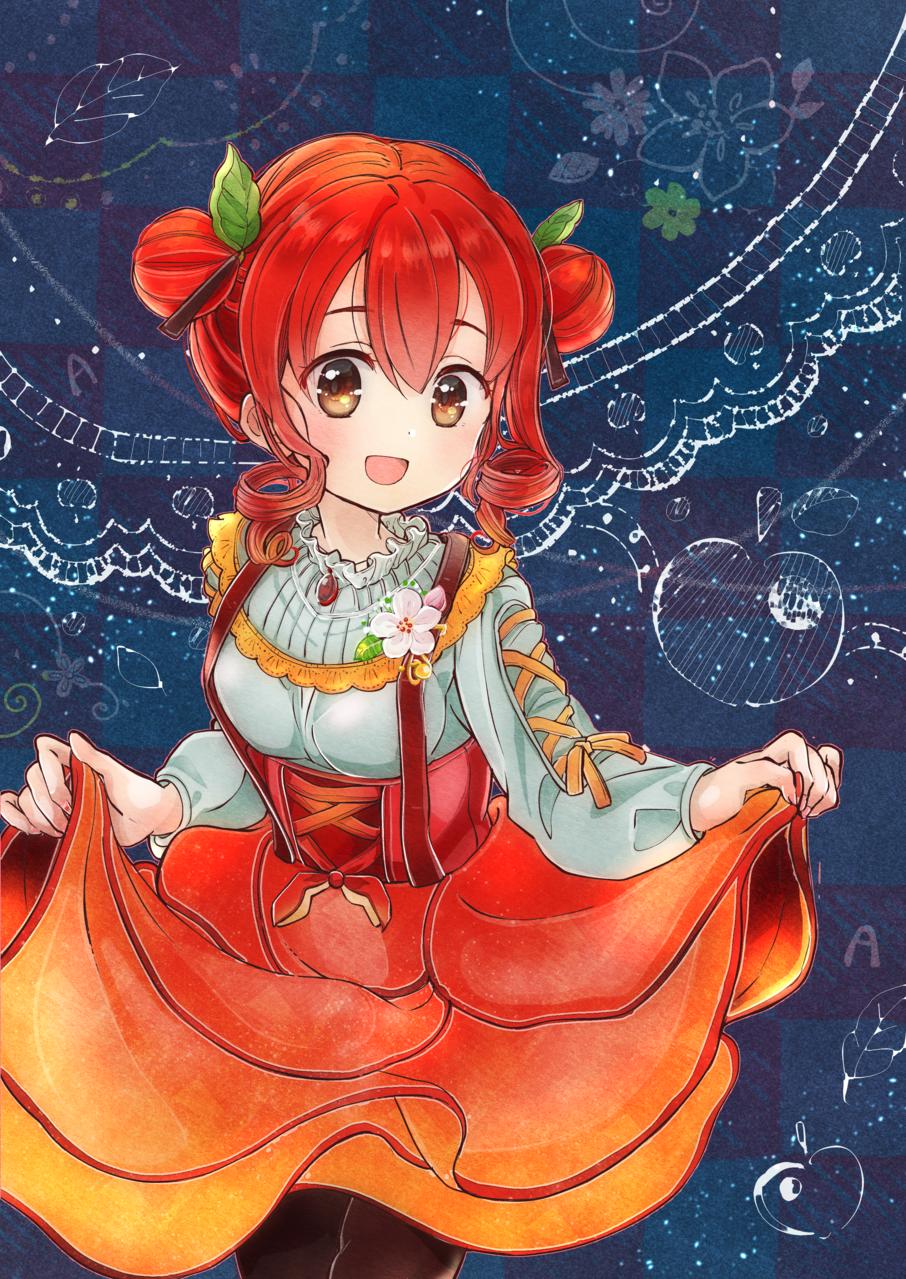 りんごちゃん Illust of こがね はな autumn girl 女の子イラスト apple おだんご