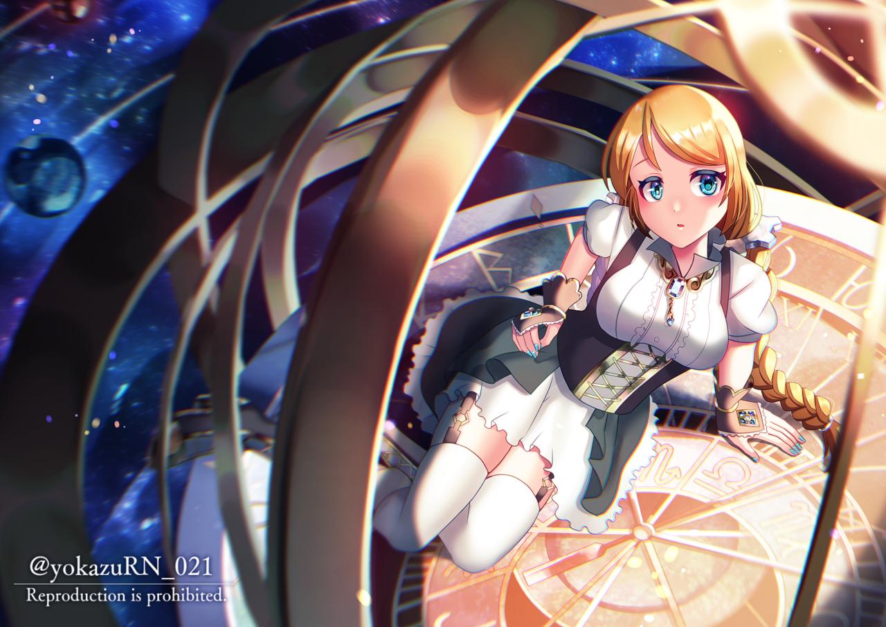 天球時計 Illust of 夜和 starry_sky girl 天球儀 original space 天文時計 oc