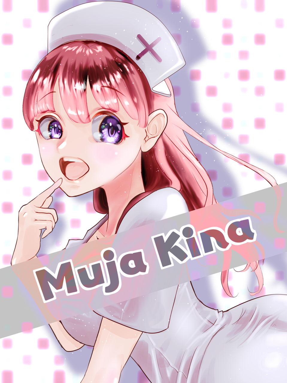 Muja Kina Illust of FJ YandereSimulatorFanArtContest kawaii girl MujaKina pinkhair fanart nurse
