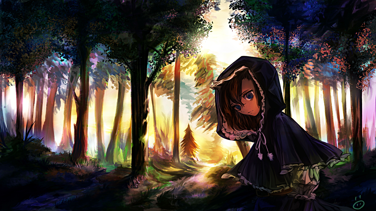 出逢いと別れの始まり Illust of 画々市 Original_Illustration_Contest background 逆光 girl forest