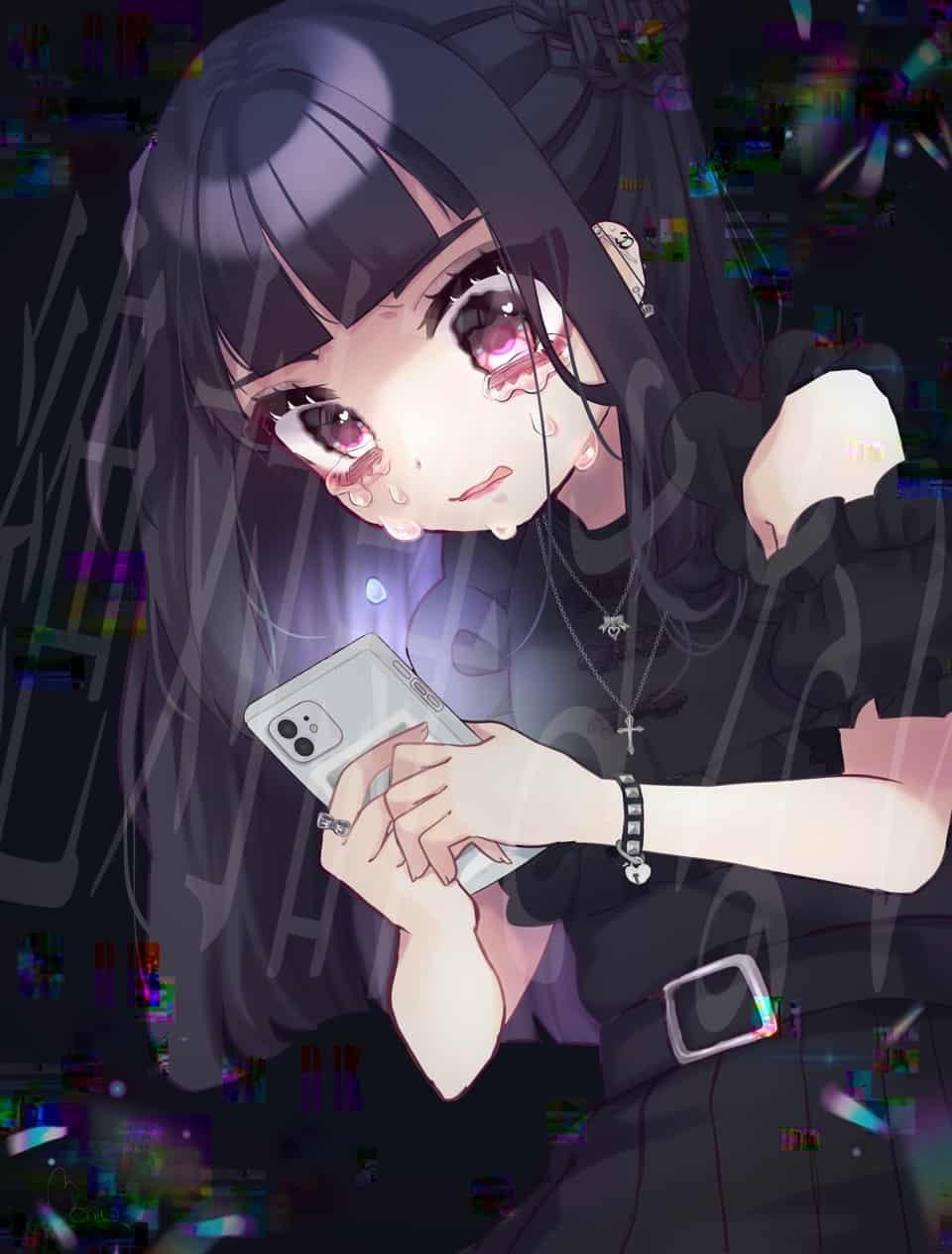 真っ黒な気持ち Illust of 佐藤べに仔 April.2020Contest:Color black sad original girl 黒髪