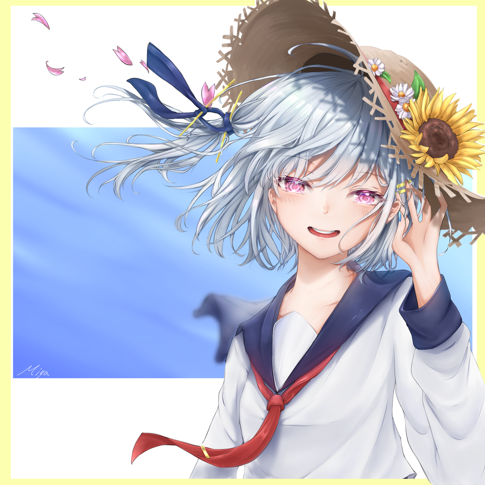 夏葵 Illust of hands u:p medibangpaint oc girl sailor_uniform Strawhat