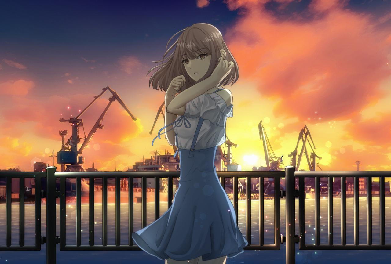 Harbor Illust of mrsartwork ocean harbor anime boat sunset clouds manga windy beach animegirl