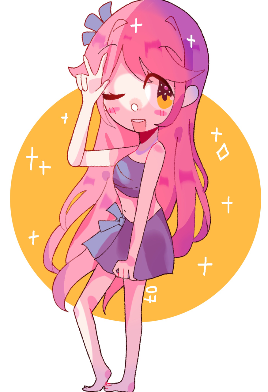 commission  Illust of pErSon medibangpaint commission girl pinkhair