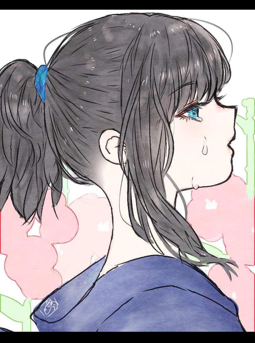 横顔 Illust of nora 黒髪 横顔 ponytail original girl medibangpaint