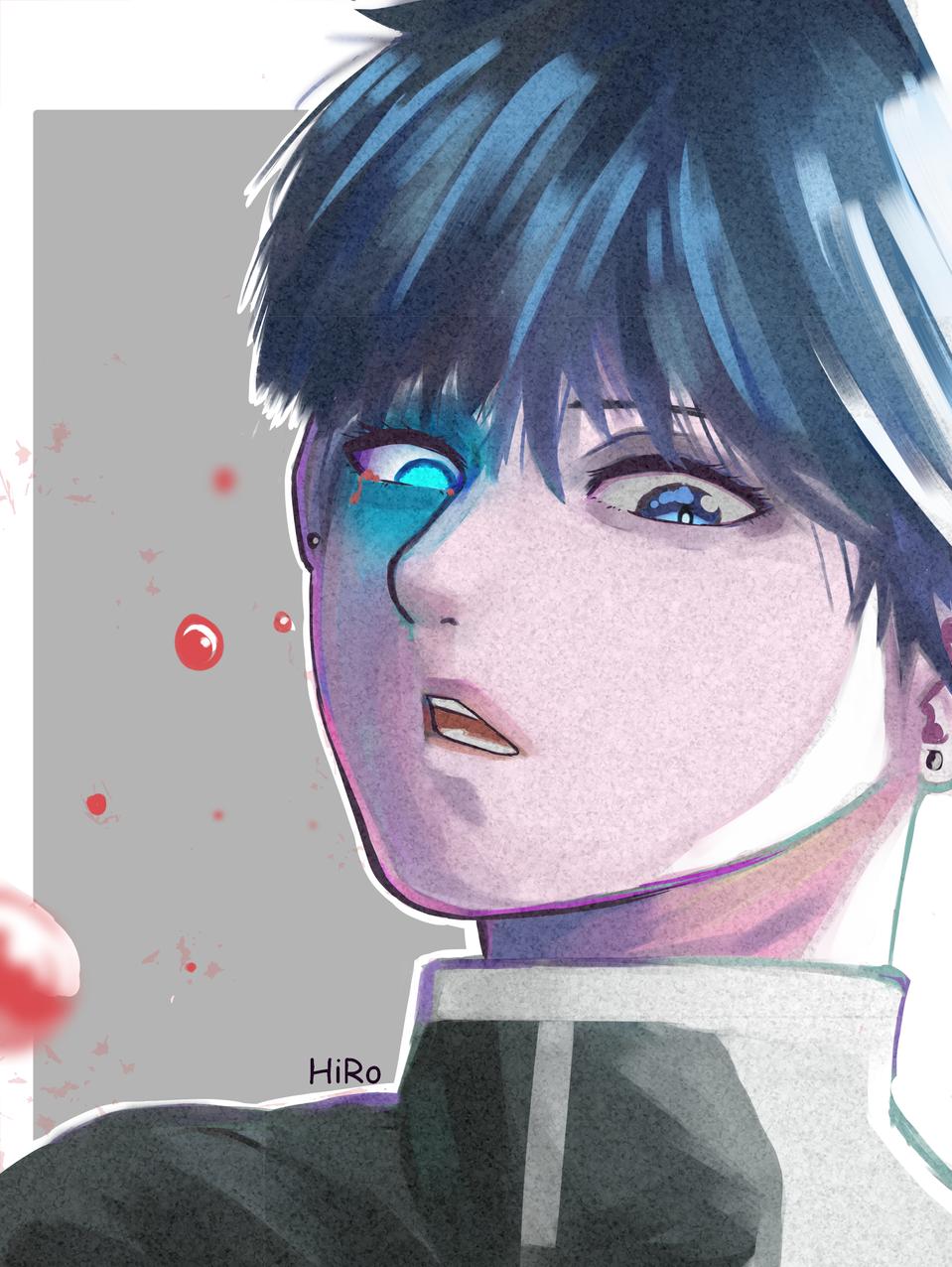 BOY Illust of H i R o horror anime beautiful blue boy medibangpaint illustration shonen oc digital