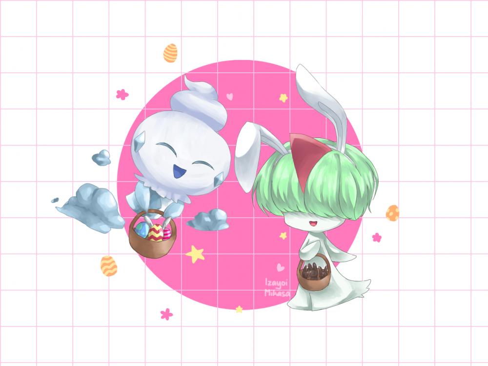 For Easter~ Illust of Izayoi Mikasa vanillite Easter pokemon ralts kawaii cute contestentry Mii-chan(Mikasa)