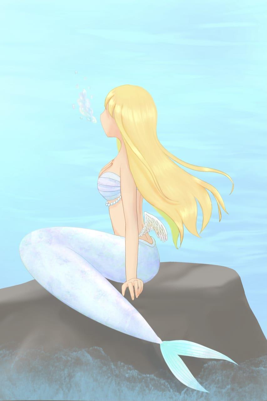 泡声 Illust of ちを 羽 angel mermaid oc 泡 精霊 sea ロングヘア girl