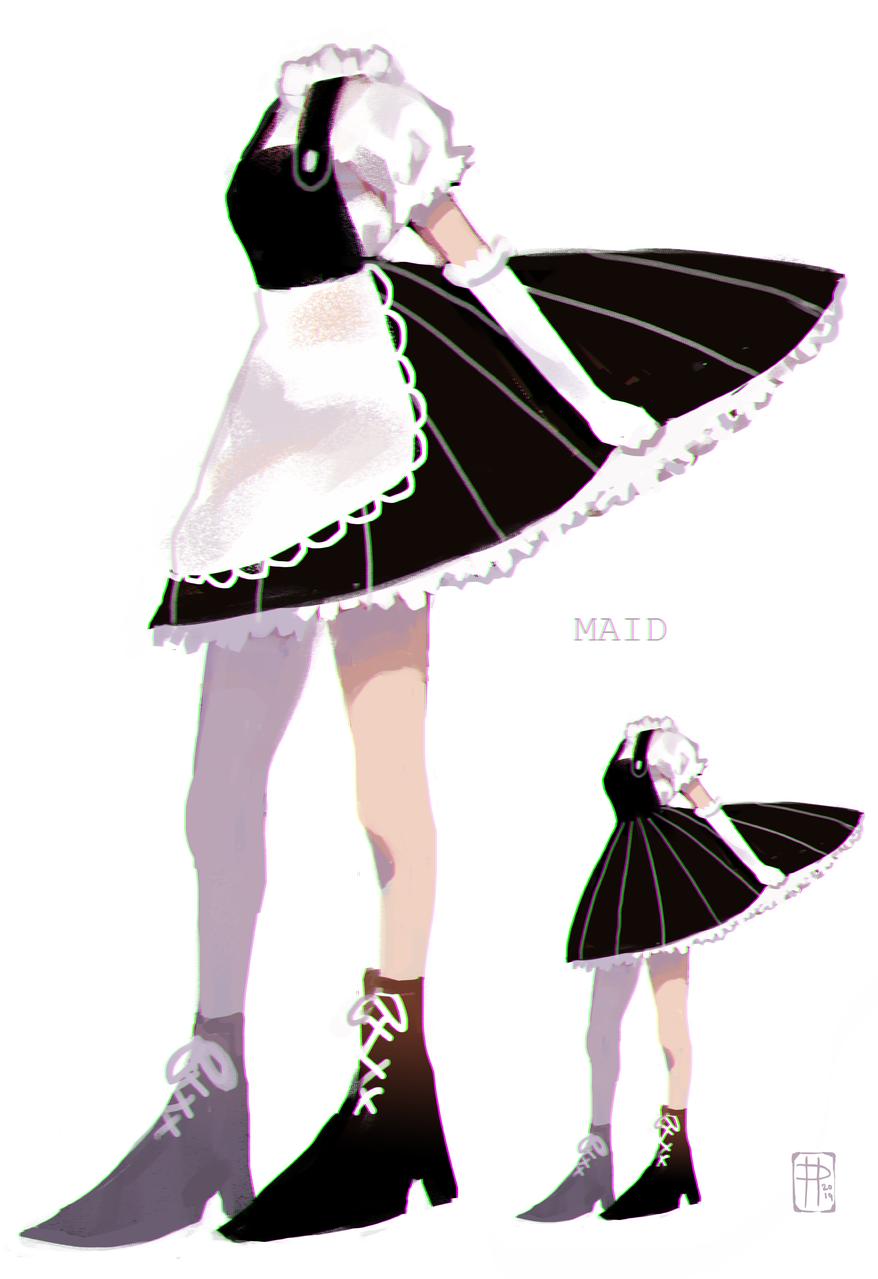 MAID Illust of poki.han doodle maid paint anime illustration pokihan kawaii