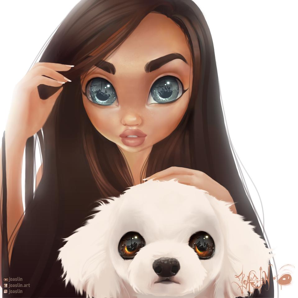 Puppy 🐶 (Best Friends) Illust of JoAsLiN ARTstreet_Ranking illustration eyes girl digital original art dog oc cute anime