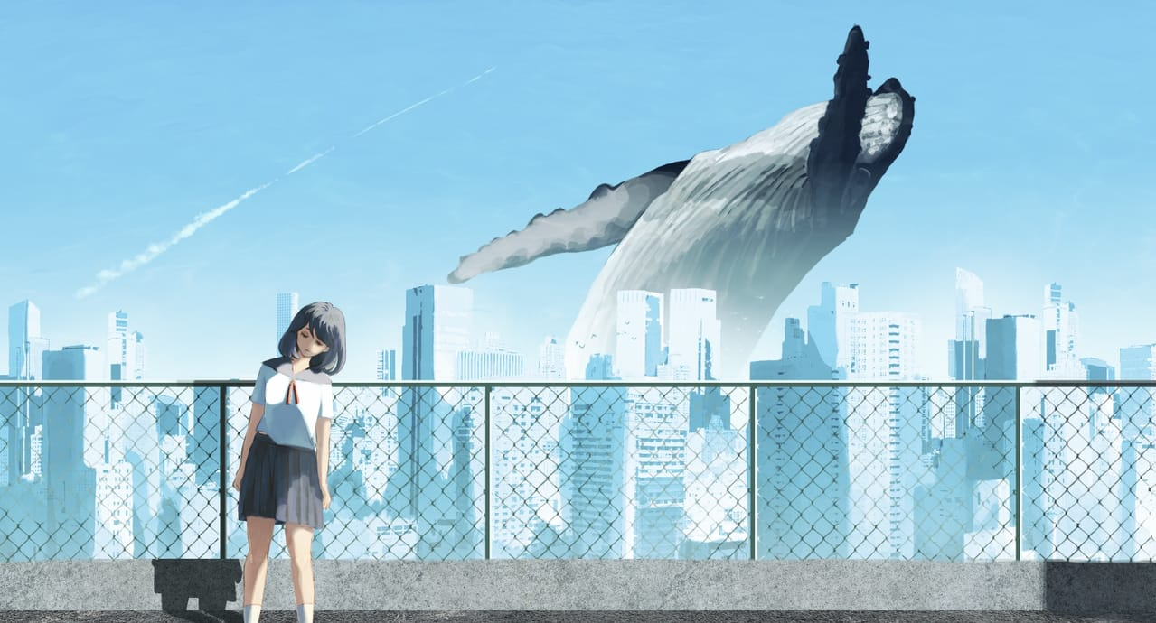 白昼夢 Illust of アールアール August2021_Animal くじら girl Building whale 街並み summer Giant 飛行機雲 クジラ