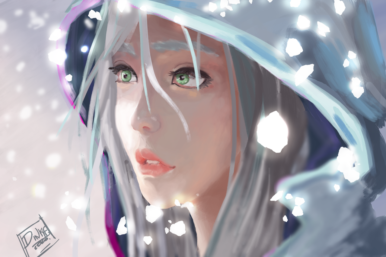 Gray Illust of rq22 April.2020Contest:Color snow girl Girls concept Conceptart