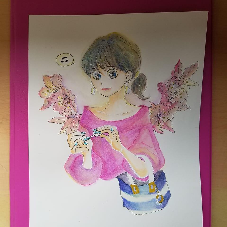 お気に入りの服を着た日には♪ Illust of おかかうめ doodle girl flower original アナログ 水彩色鉛筆