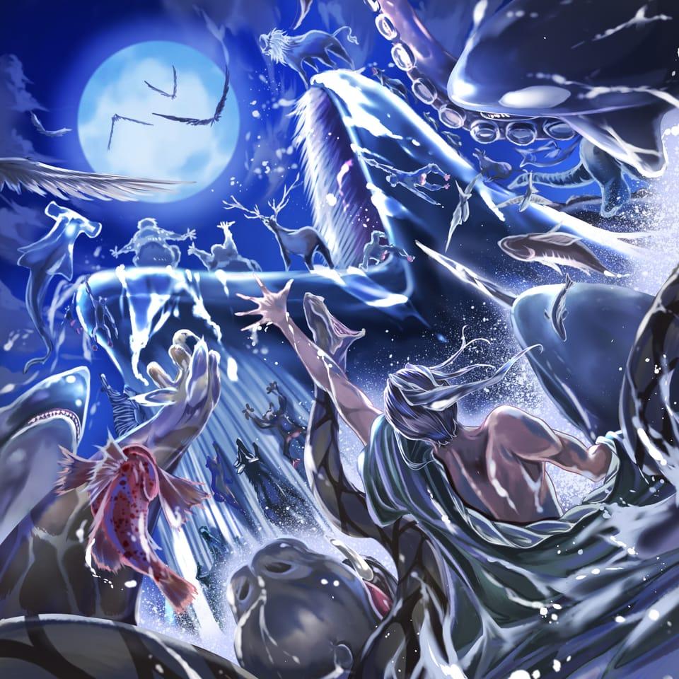 星を食む。ゆえに我ら有り。/HOSIGAMI Illust of オニコロシ/生き方/帰り路 August2021_Animal monster moon 動物魚 sea 獣 original クジラ