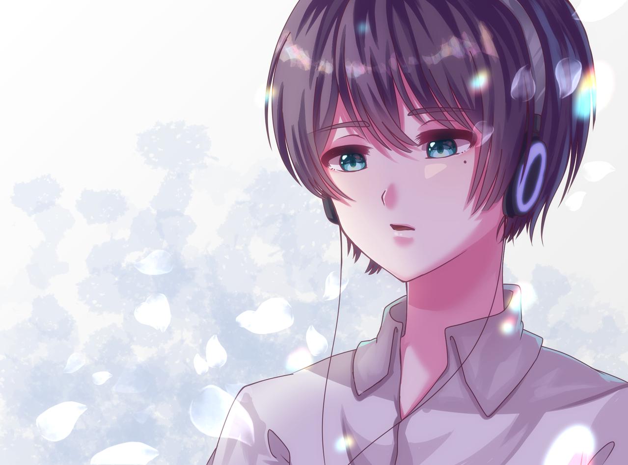 音楽を聴く子2 Illust of もうふ medibangpaint boy 音楽 headphones