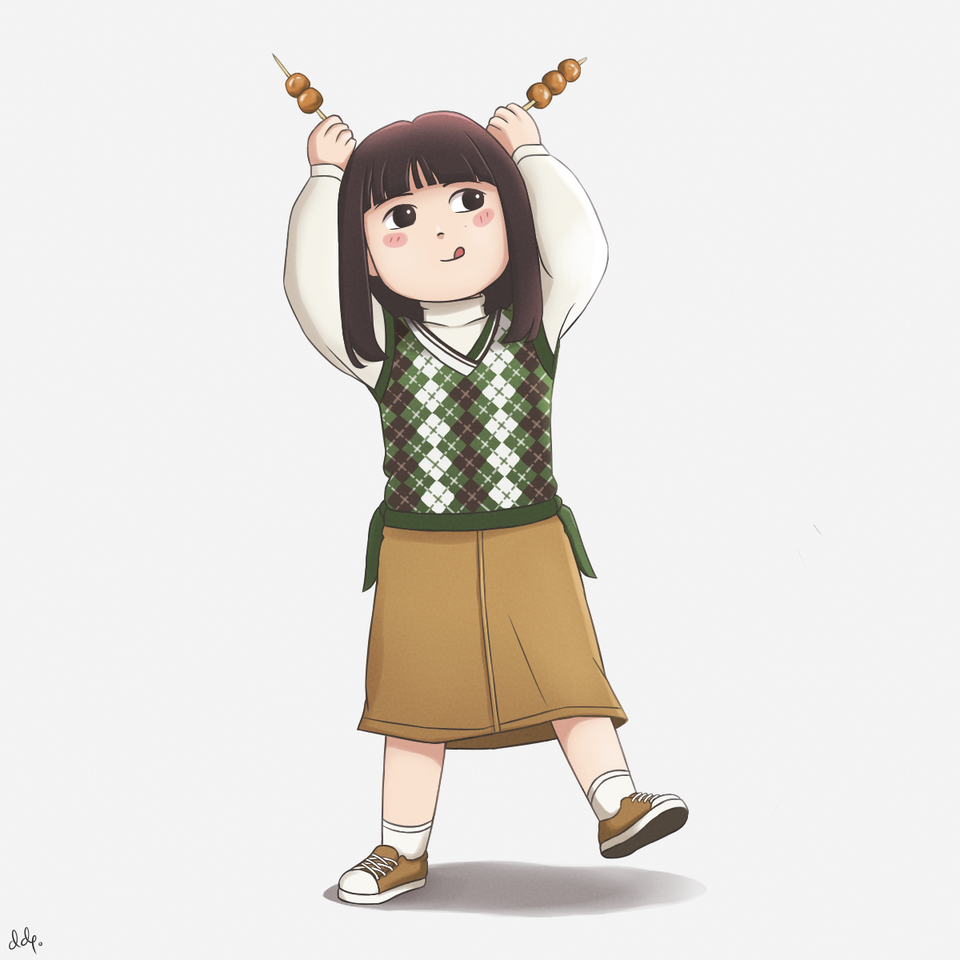 Mitarashi Dango Girl Illust of Yukka October2020_Contest:Food cute girl medibangpaint chibi kawaii