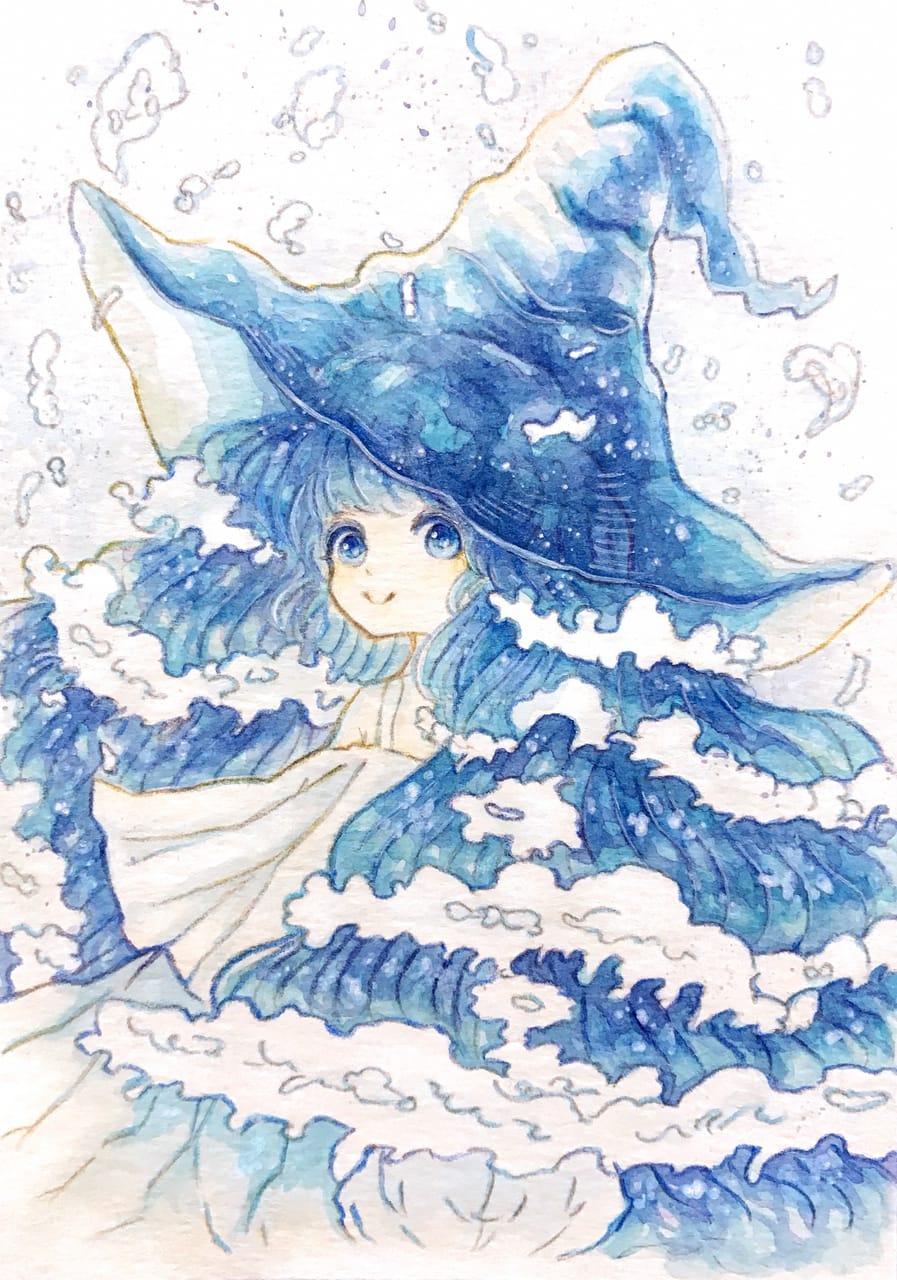 青い波の魔女 Illust of 伊砂祐李 (Yuri Isa) original girl sea アナログ