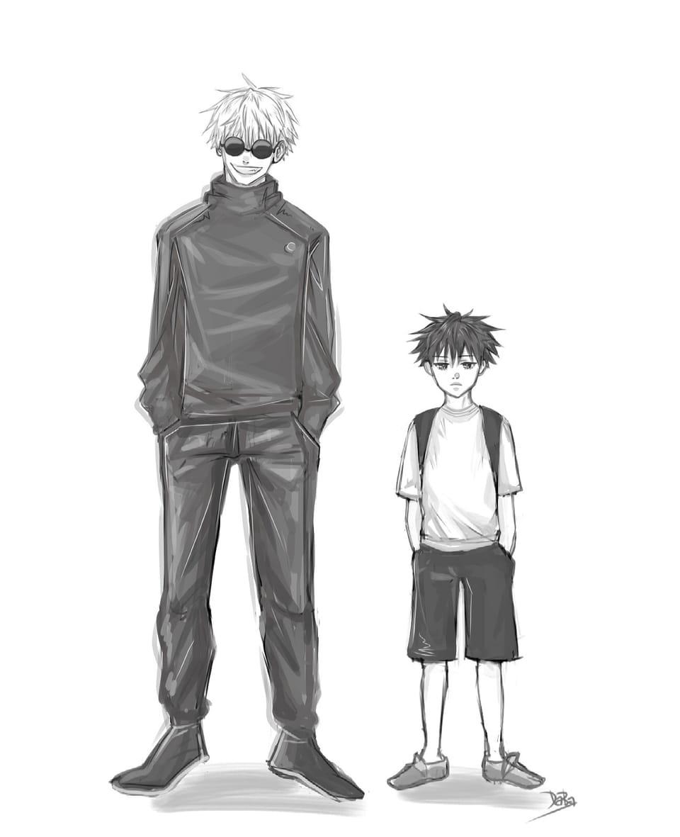 先生と学生 Illust of daba_illust illustration パンアート painting SatoruGojō kawaii anime Comics Megumi_Fushiguro JujutsuKaisen boy