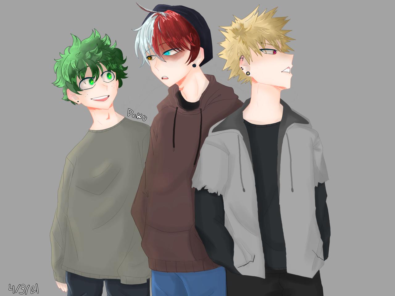 The boys  Illust of Dekuchan_336(crazy mode?) medibangpaint Bakugoufanart fanart dekufanart Fingerpaint digital anime heheColorful todorokifanart MyHeroAcademia