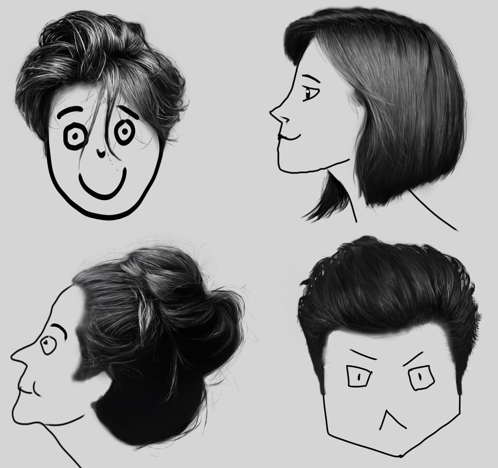 Hair Study Illust of llorddd realism hair Study