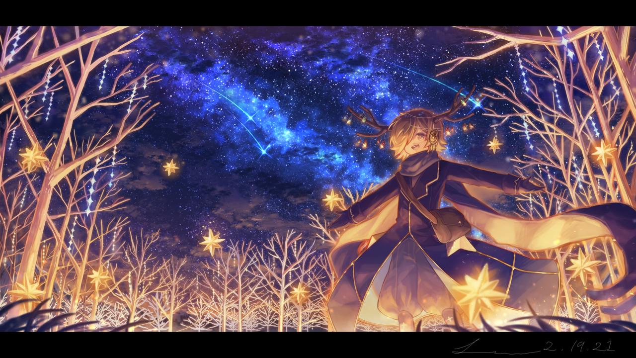 「天へと続くホシの賛歌」 Illust of 星灯れぬ fantasy February2021_Fantasy original impasto ホシサガスモノ night star