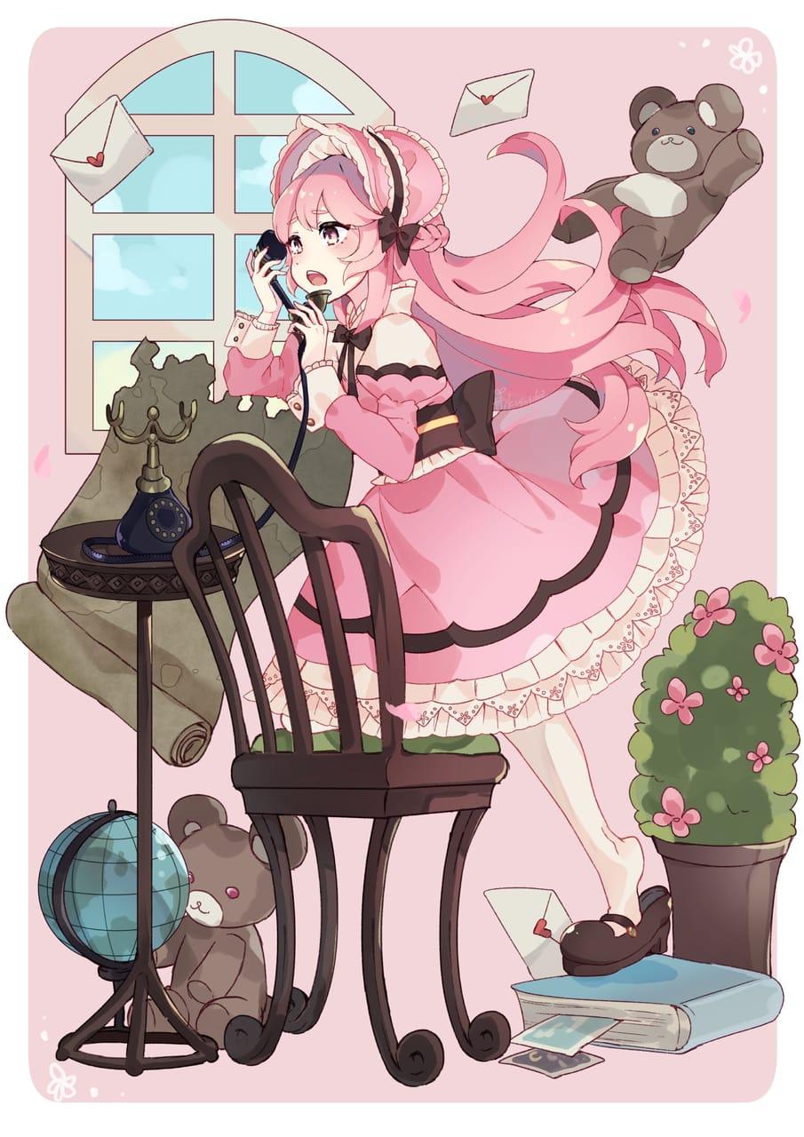 会いたいの Illust of クスノキ pinkhair girl ロリィタ original 和ロリ