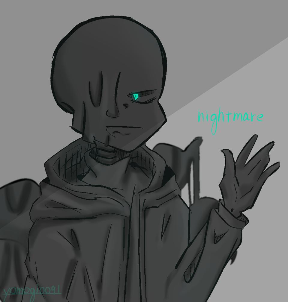 nightmare sans Illust of よもぎ丸 nightmare black ausans Sans