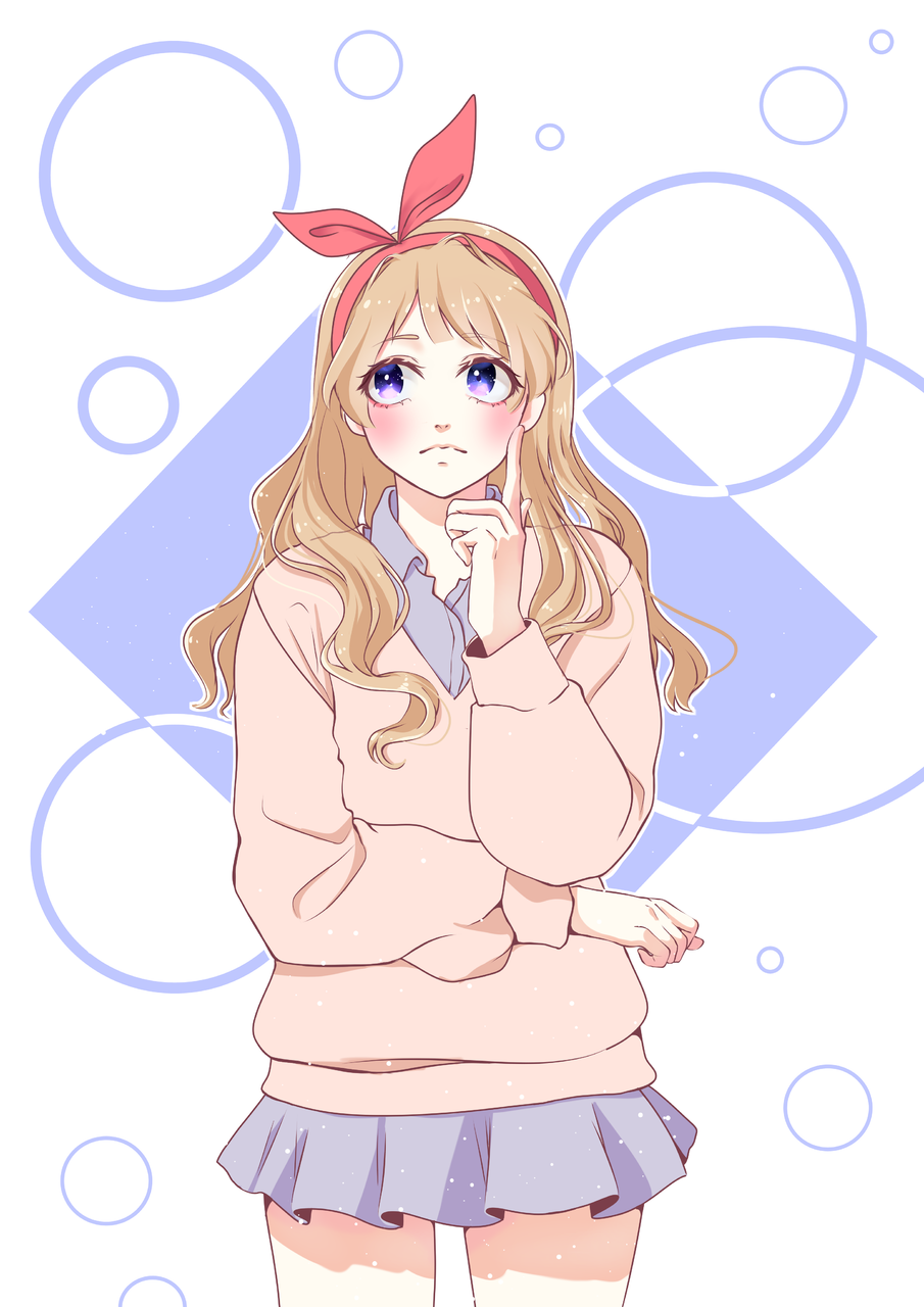 Just thinking Illust of Ketlley Post_Multiple_Images_Contest illustration girl Drawings oc pink blue Artwork line_art