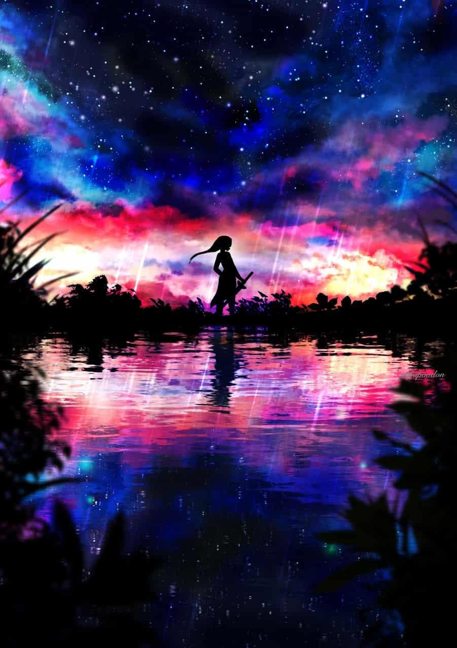 終焉 Illust of ぽぽうどん February2021_Fantasy original sky 風景画 sunset 夜空 starry_sky 幻想的 scenery 景色