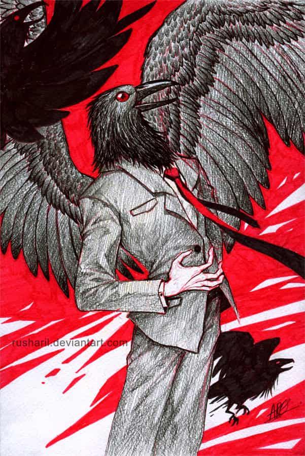 Crowman Illust of Rusharil ARTstreetRanking birds suit