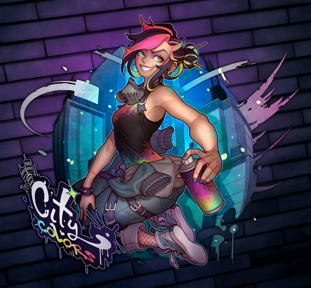 City Colors Illust of MoDathan June2020_Contest:Street_Art cute outfit girl city graffiti oc original hair rainbow color