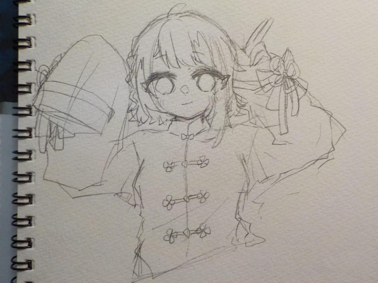 たまにはラフ。 Illust of めだまやき#中2病 Copic angel チャイナ服 鉛筆描き アナログ アイコン用 kawaii