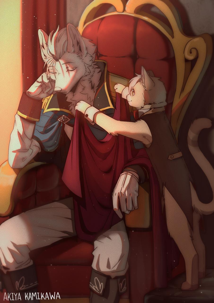 Wolf prince & Cat servant Illust of 神川紀也 September2020_Contest:Furry furry cat wolf