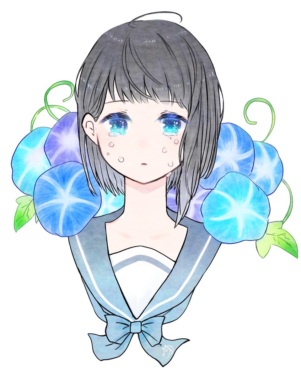 儚い恋 Illust of nora January2021_Contest:OC medibangpaint girl 朝顔 original tears