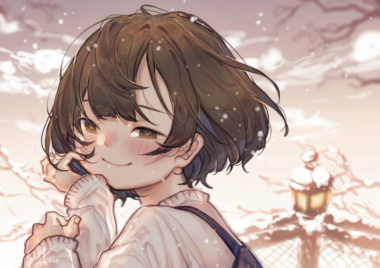 warmth Illust of sonnya_ws September2021_Girl warm smile winter oc