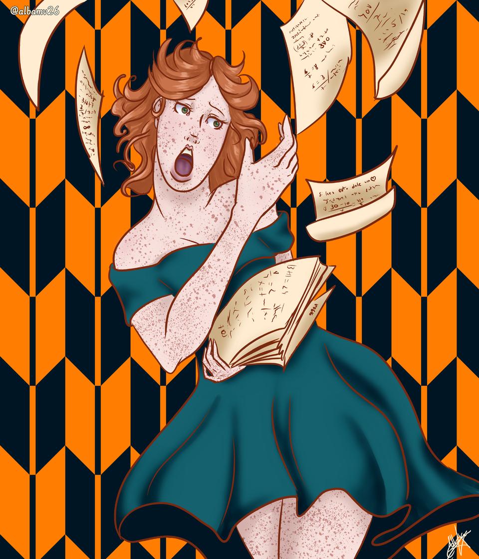 Voló los papeles Illust of Albamv26 #woman oc #personajeoriginal #orange