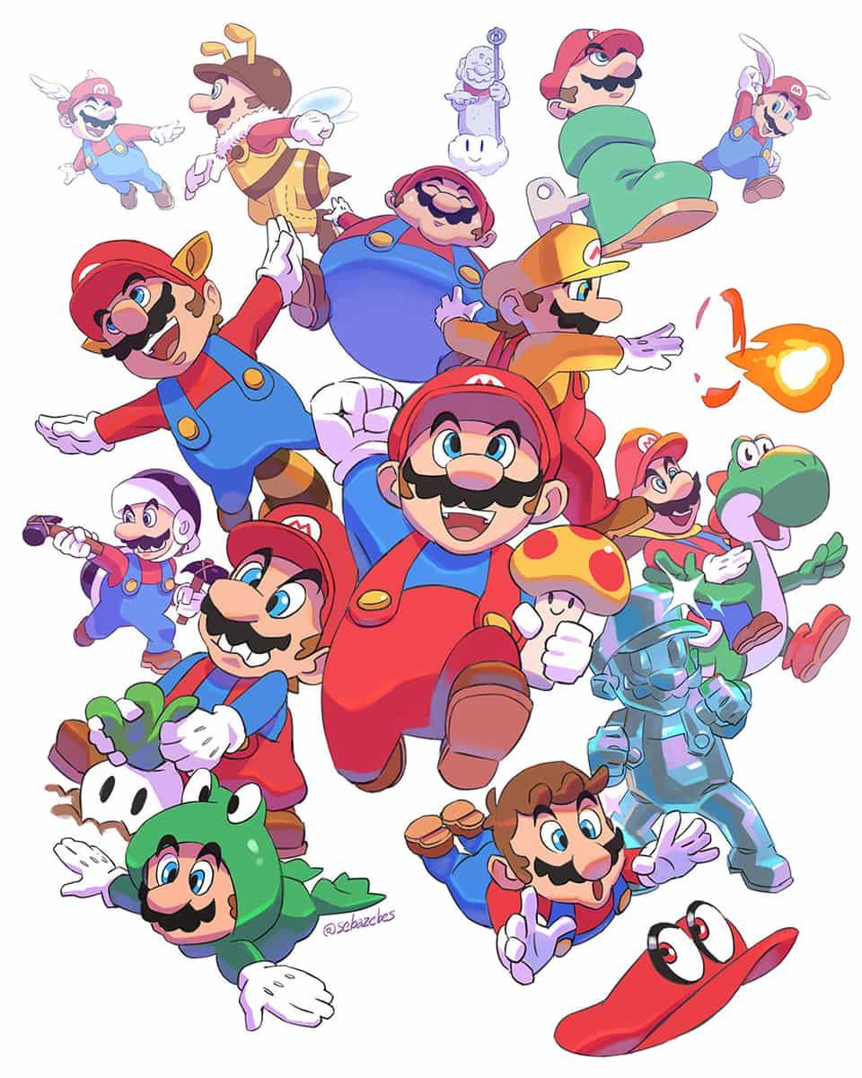Super Mario Bros 35th Illust of Sebazebes Mario SuperSmashBros. SuperMario Nintendo supermariobros35