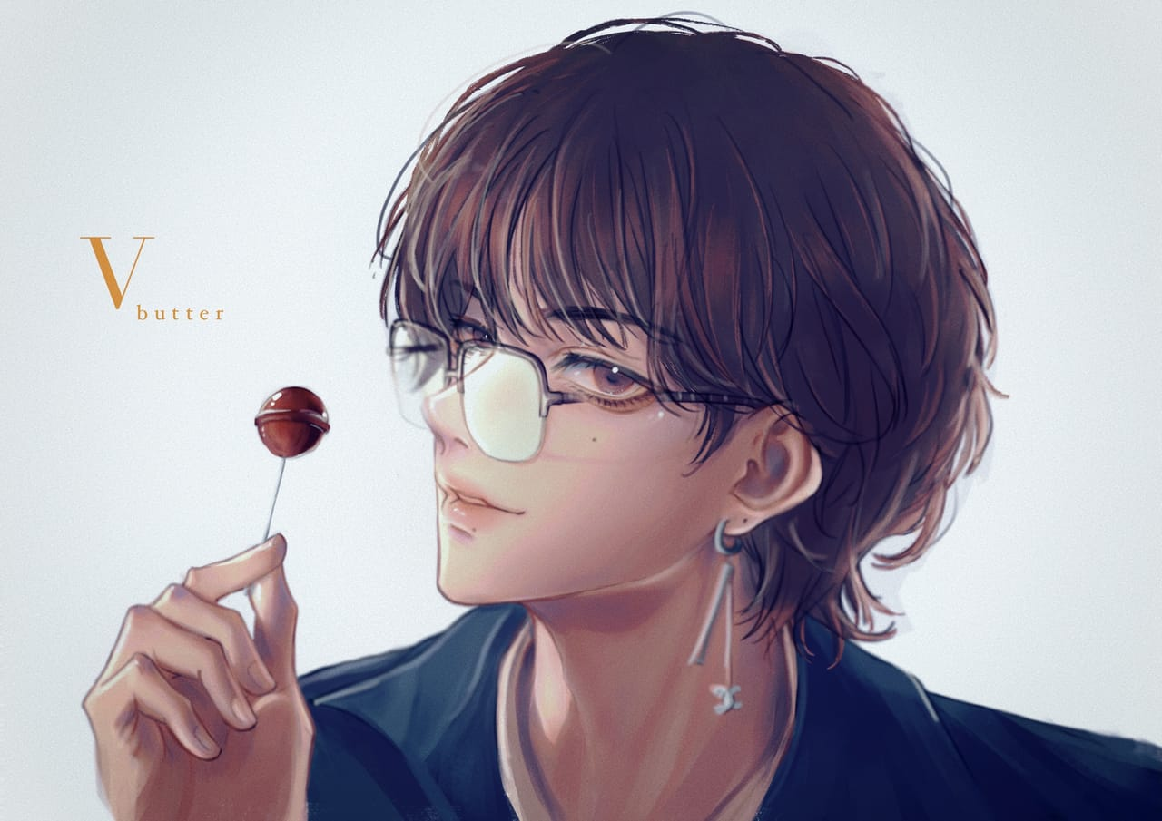 BTS V Kim Taehyung Butter Illust of shibaruirui animeboy 뷔 anime taehyung Kim Kpop BTS 태형 Taehyung V