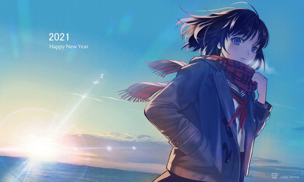2021年 年賀 Illust of 芦屋ふく 女子高生 sailor_uniform