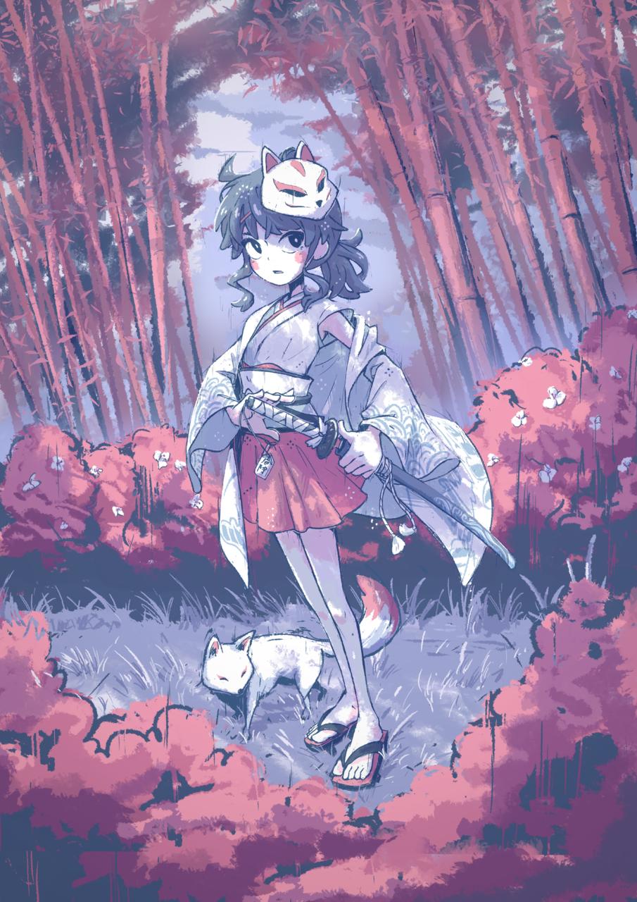 Something in the Dark Illust of JJKrokodil September2021_Girl お面