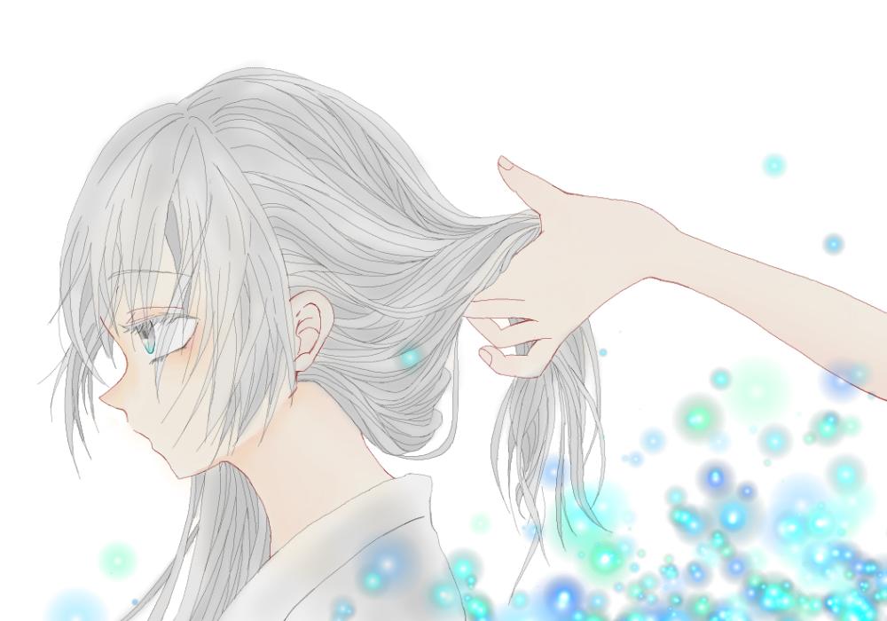 銀髪少女 Illust of はろちゃ medibangpaint blue 横顔 yukata hand girl かき揚げ 髪の毛 銀髪