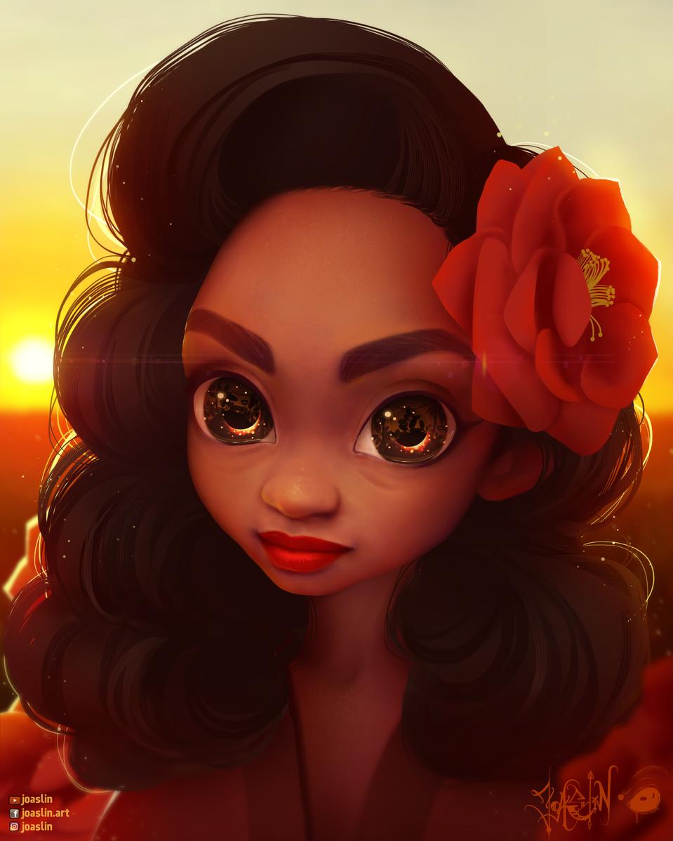 ❤️💋Even more Red🥀❤️ Illust of JoAsLiN ARTstreet_Ranking illustration eyes painting red digital anime girl flower oc original