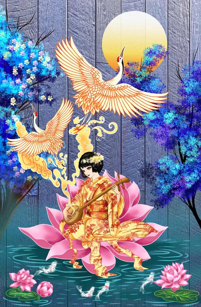 Illust of Cheesywhiskers Kyoto_Award2020_illustration February2021_Fantasy July2020_Contest:Anniversary January2021_Contest:OC Fingerpaint music Japanese_style medibang medibangpaint illustration kimono oc original