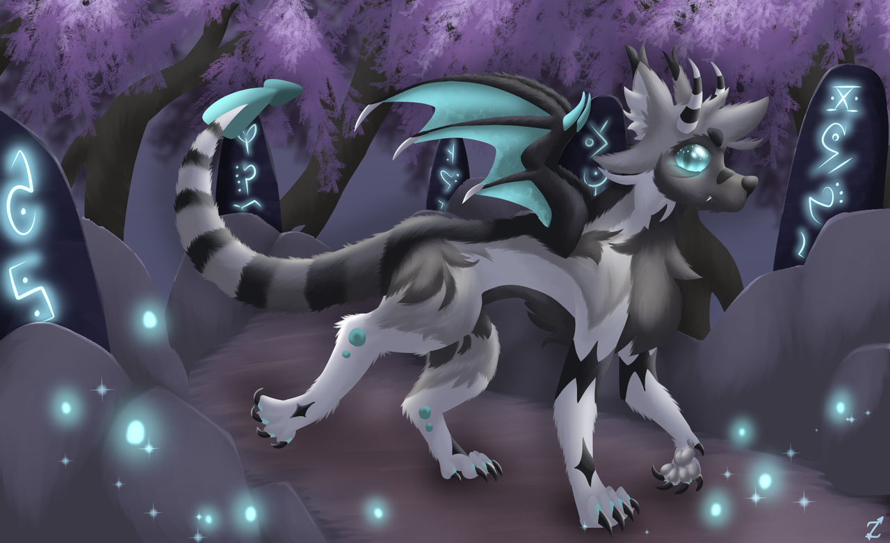 The Monolith Garden Illust of Zyvra Dragonfyre September2020_Contest:Furry medibangpaint ruins forest runes furry wolf blue glow