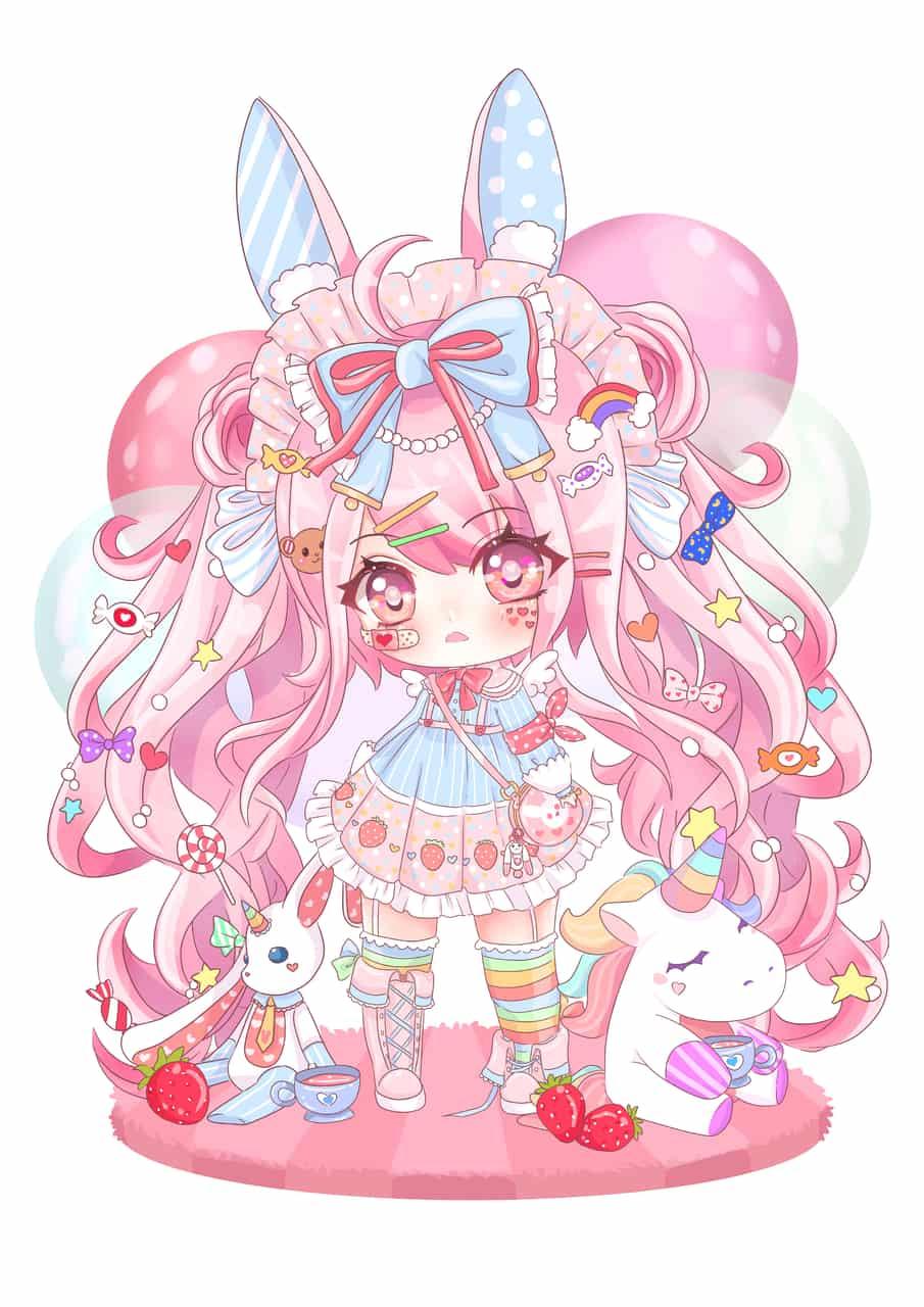 OC (alwayspouting) Illust of chibinana chibi chibigirl pink Lolita kawaii sweet anime chibiart pastel commission
