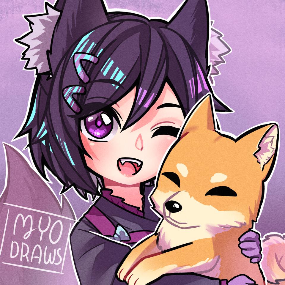 Aliz with her dog Illust of MyoDraws oc dog wolfgirl purple wolf ShibaInu