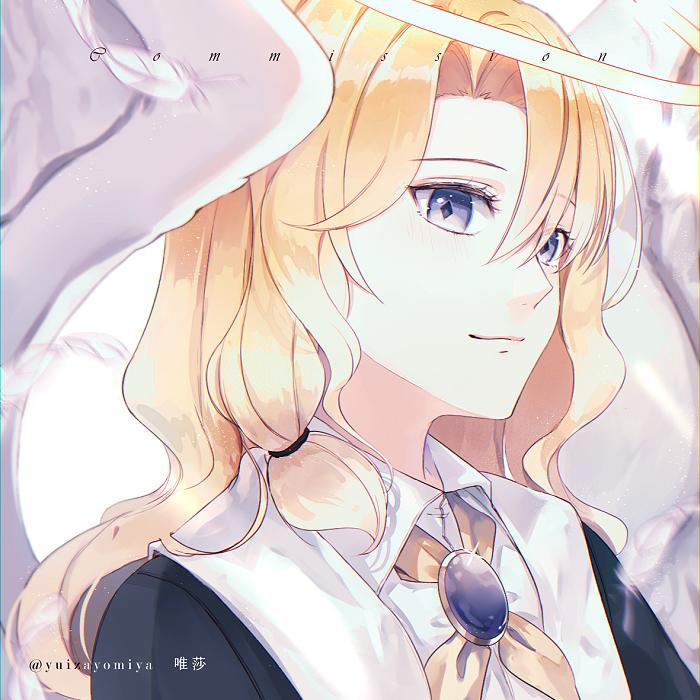 Angel Illust of 唯莎 wings angel commission blonde 藍眼