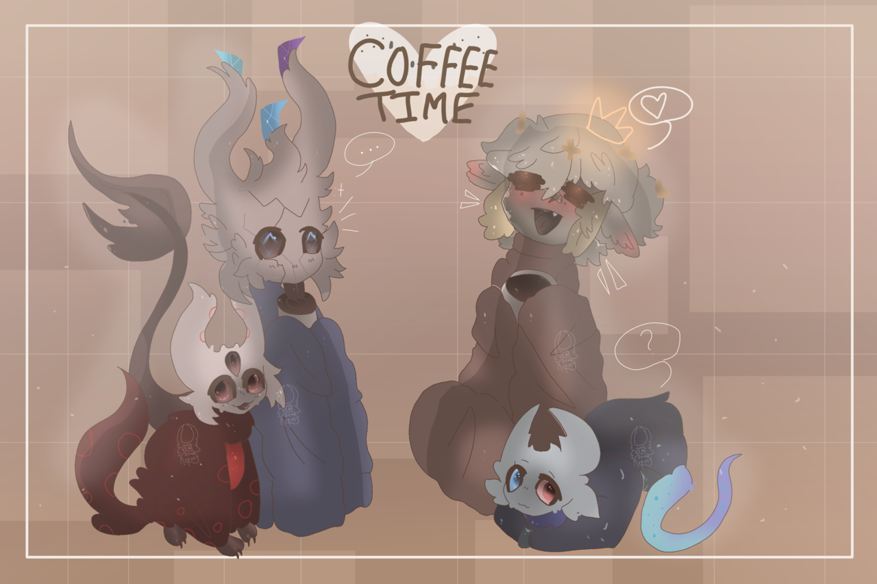🌛☕Coffee time with the bellflies☕🌜 Illust of Squidkid64 medibangpaint oc Bestie_Grimm cute Bellfly Squidkid64 gift Human_persona Crystal_Castle Hollow_Knight