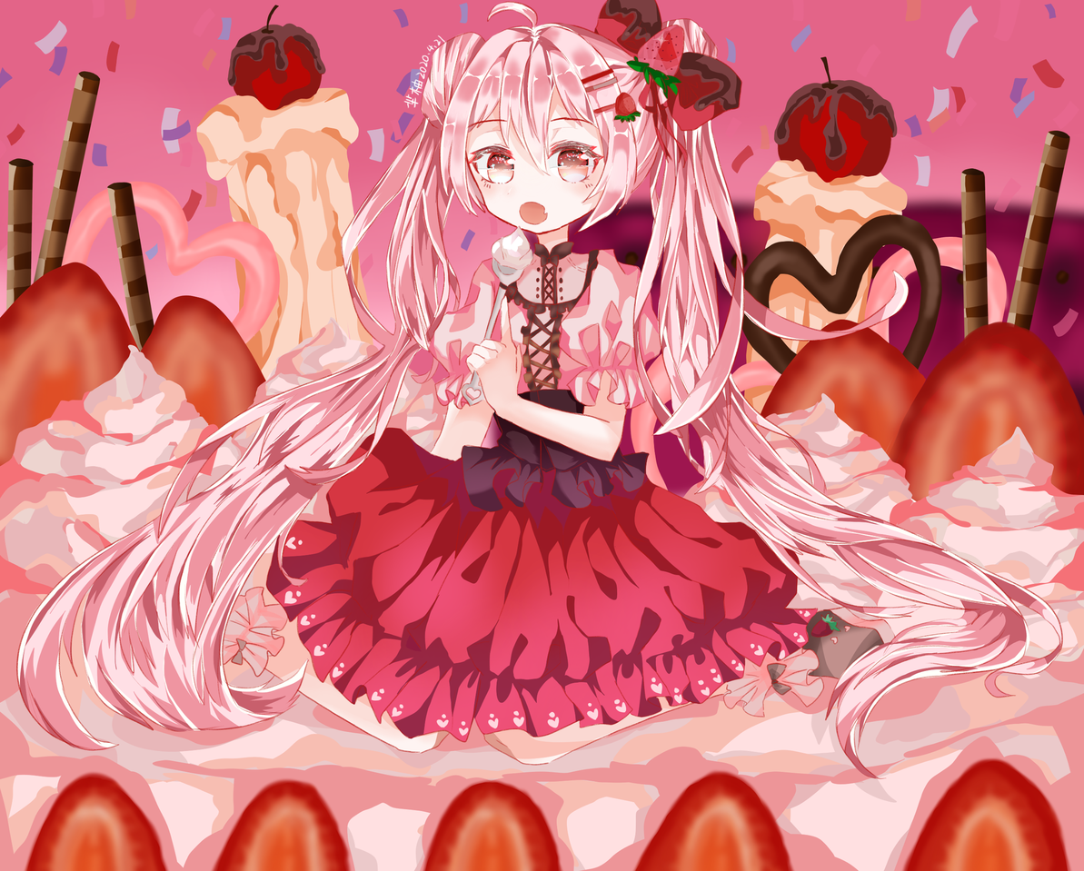 草莓蛋糕拟人 Illust of Minako medibangpaint 拟人 girl 女生 草莓蛋糕拟人